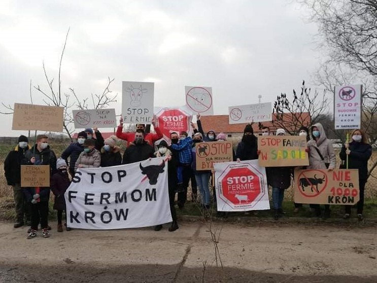 Mieszkańcy protestujący przeciwko fermie w Sadkowie