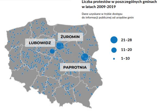 Skala protestów w Polsce - mapa